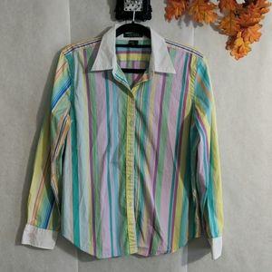 Lauren Ralph Lauren multi colored blouse Sz L